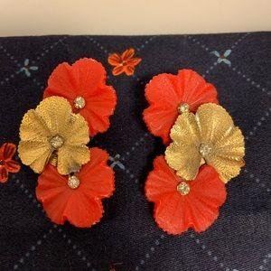 Vintage Mid Century Huge Plastic Flower Earrings